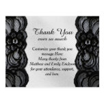 Black Lace and Satin Thank You Cards Postcard