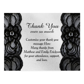 Black Lace and Satin Thank You Cards Postcards