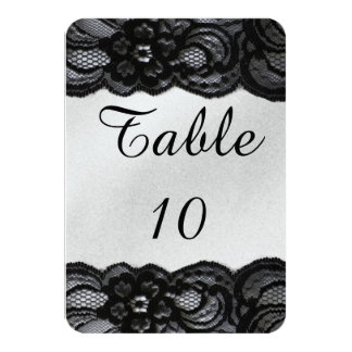 Black Lace and Satin Wedding Table Card