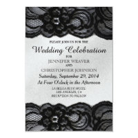 Black Lace and White Satin Wedding Invitations