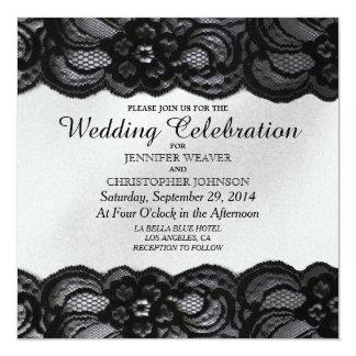 """Black Lace and White Satin Wedding Invitations 5.25"""" Square Invitation Card"""
