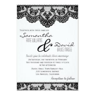 """Black Lace and White Wedding Invitation 5"""" X 7"""" Invitation Card"""