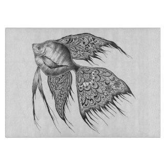 Black Lace Angelfish Cutting Board