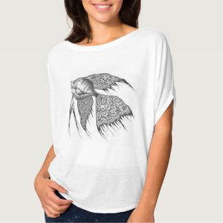 Black Lace Angelfish Flowy Top Tee Shirt