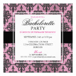 Black Lace Bachelorette Party Invitations Hot PInk