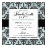 Black Lace Bachelorette Party Invitations in Teal