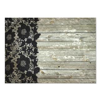 black lace barnwood vintage birthday party card