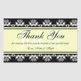 Black lace border thank you out of town gift bag rectangular sticker