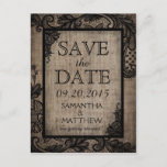 🎃  Black Lace Burlap Modern Goth Save the Date Announcement Postcard