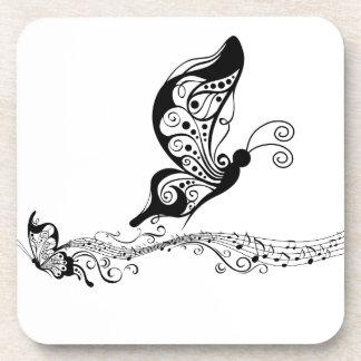 Black Lace Butterflies 6 Musical Beverage Coasters