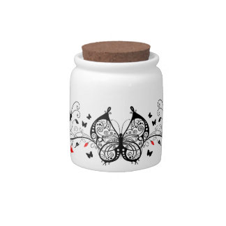 Black Lace Butterflies 7 Candy Jars
