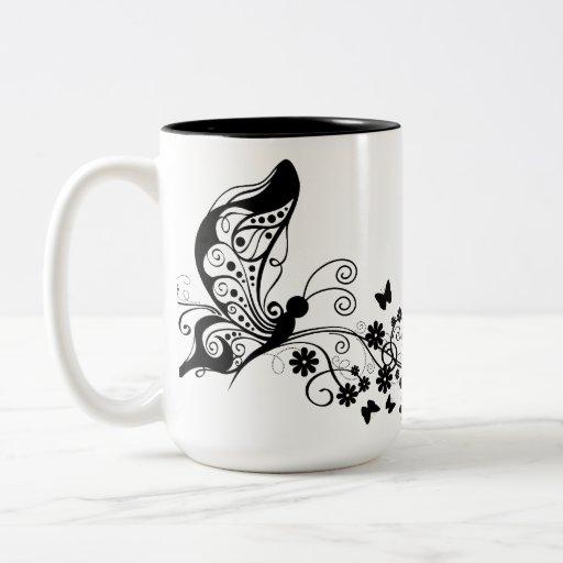 Black Lace Butterflies 8 Two-Tone Coffee Mug