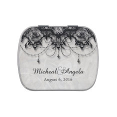 Black Lace Chandelier Wedding Candy Tin at Zazzle