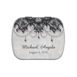 Black Lace Chandelier Wedding Candy Tin