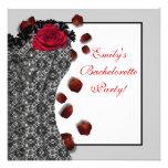 Black Lace Corset Red High Heel Bachelorette Party Custom Invitation
