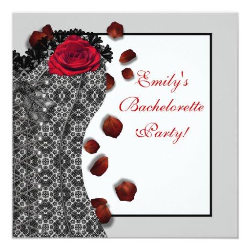 Black Lace Corset Red High Heel Bachelorette Party Invitation