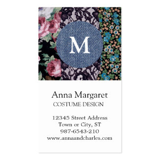 Black Lace Floral Fabric Denim Monogram Business Card