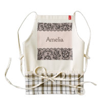 black lace,girly,pink cute pattern,trendy,chic,fun zazzle HEART apron