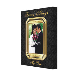 Black Lace & Gold Frame Forever Photo Canvas Print