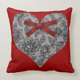 Black Lace Heart Throw Pillow