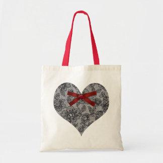 Black Lace Heart Tote Bag