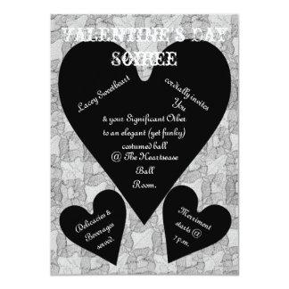 Black Lace & Hearts Romantic Valentines Day 4.5x6.25 Paper Invitation Card