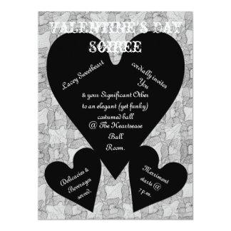 Black Lace & Hearts Romantic Valentines Day 6.5x8.75 Paper Invitation Card