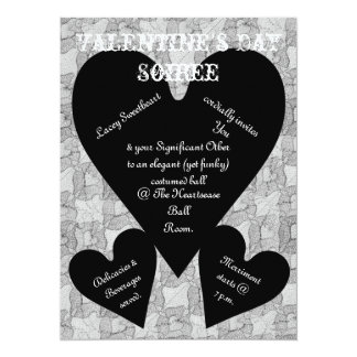 Black Lace & Hearts Romantic Valentines Day Card