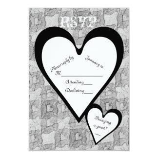 Black Lace & Hearts Romantic Valentines Day RSVP 3.5x5 Paper Invitation Card