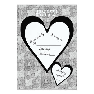 Black Lace & Hearts Romantic Valentines Day RSVP Card