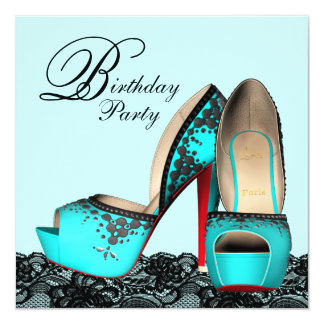 Black Lace High Heel Shoe Teal Blue Birthday Party Card