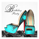Black Lace High Heel Shoe Teal Blue Birthday Party Custom Announcements
