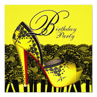 Black Lace High Heel Shoes Yellow Birthday Party Card