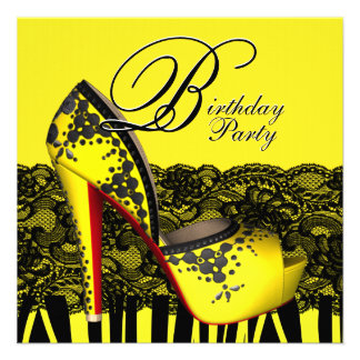 Black Lace High Heel Shoes Yellow Birthday Party Personalized Announcements
