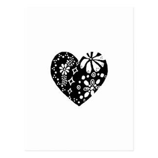 Black Lace-like / metalwork-like Heart pattern Postcard