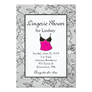 Black Lace Lingerie Bridal Shower Invites