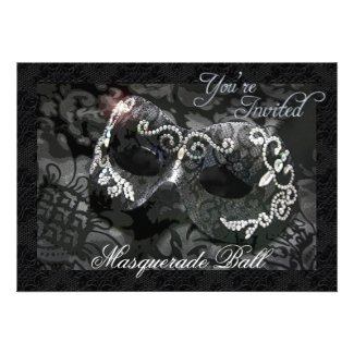 Black Lace Mask Jeweled Masquerade Ball Invitation