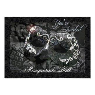 Black Lace Mask Jeweled Masquerade Ball Invitation