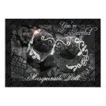 "Black Lace Mask Jeweled Masquerade Ball Invitation 5"" X 7"" Invitation Card"