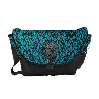 Black Lace on Blue With Black and Blue Celtic Knot Messenger Bag