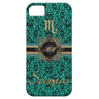 Black Lace on Green Monogrammed Scorpio Case iPhone 5 Case