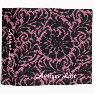 Black lace on pink vinyl binders