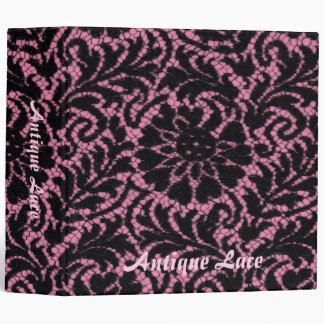 Black lace on pink binder