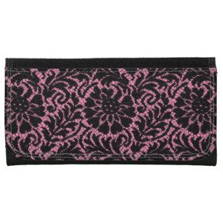 Black lace on pink women's wallet
