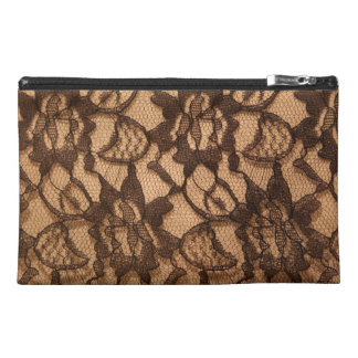 Black Lace on Taupe Travel Accessories Bags