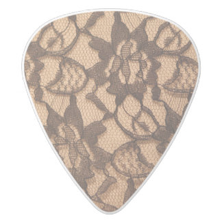 Black Lace on Taupe White Delrin Guitar Pick