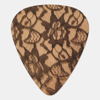 Black Lace on Taupe Guitar Pick