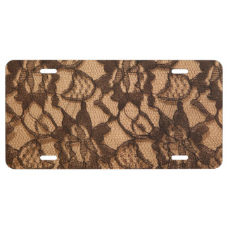 Black Lace on Taupe License Plate
