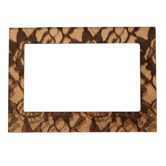 Black Lace on Taupe Magnetic Picture Frames