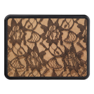 Black Lace on Taupe Trailer Hitch Cover